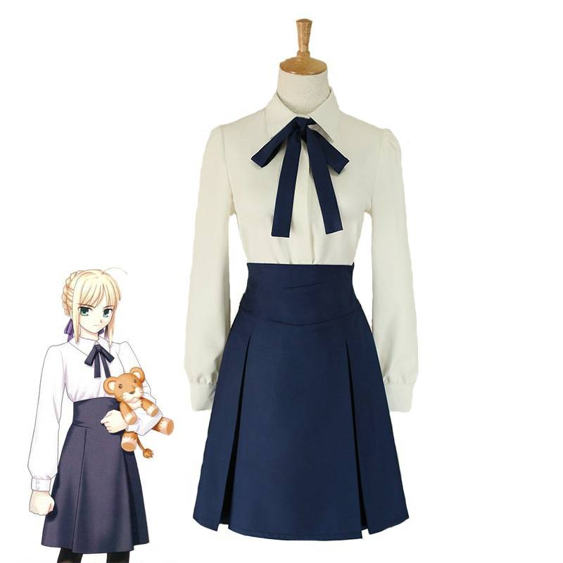 Fate Stay Night Saber Altria Pendragon High Waist Skirt School Uniform Outfit Anime Cosplay Costumes