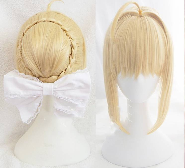 Fate Stay Night Arturia Pendragon Saber Wig Blonde Styled Updo Cosplay Full Wigs & Cap