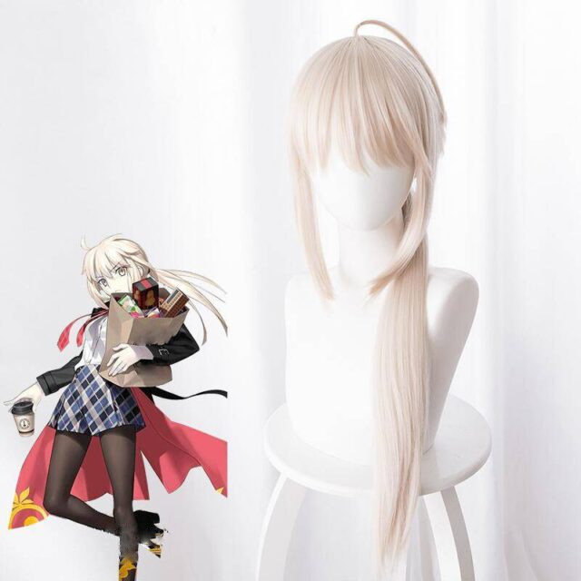 arturia pendragon cosplay wig fate stay night grand order saber alter long straight synthetic hair & wig cap