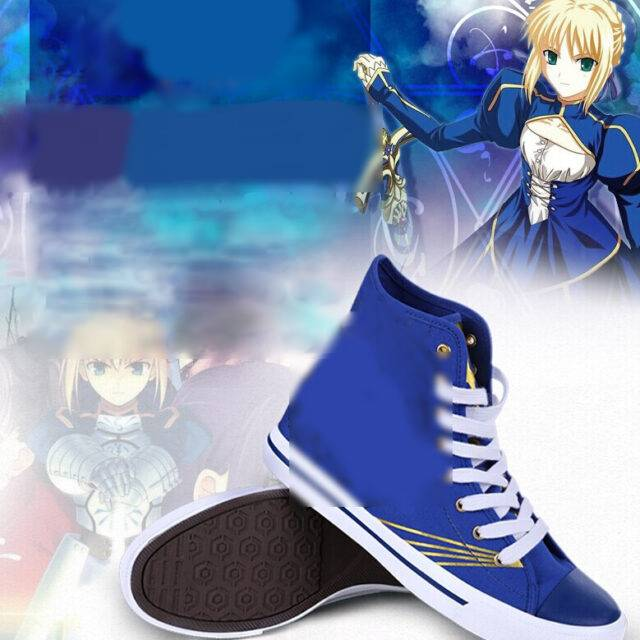 fate stay night zero saber cosplay costume japanese chinese sportwear shoes canvas casual shoes