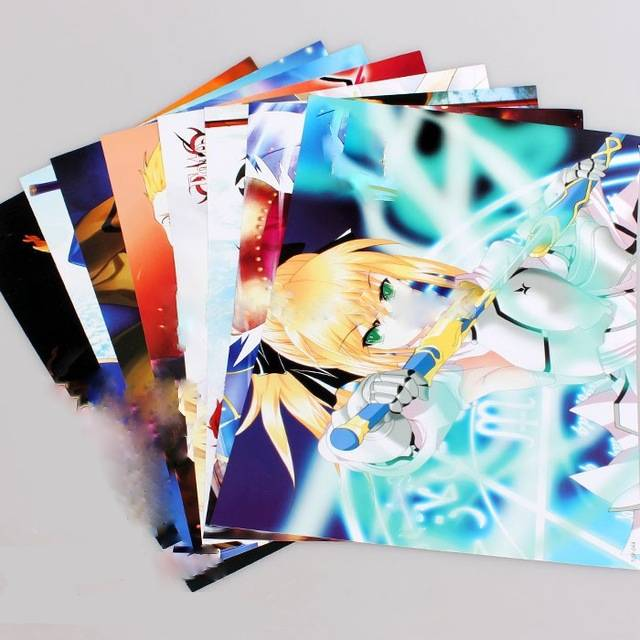 8pcs Lot Fate Stay Night Posters Anime Paintings Wall Pictures 42x29cm 8 Different Designs Embossed