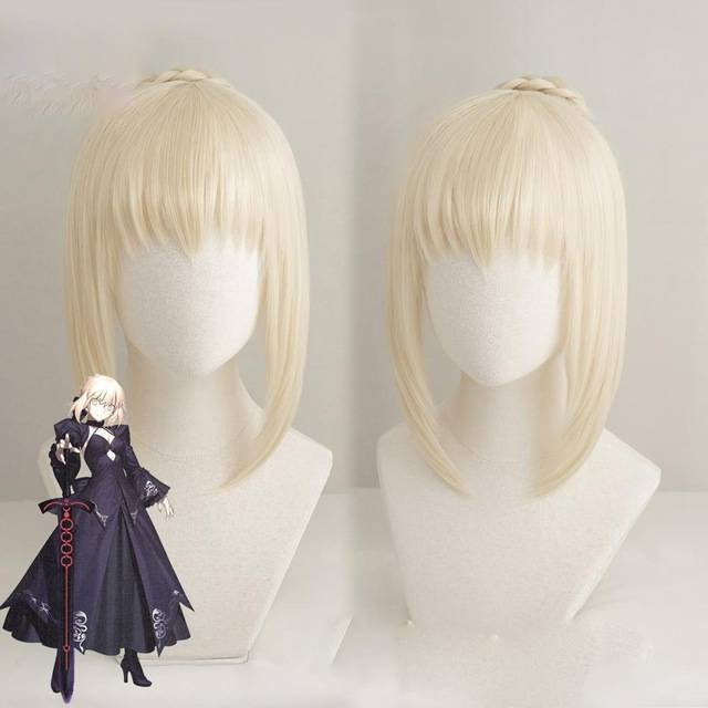 Anihut Alter Saber Wig Fate Grand Order Cosplay Anime Stay Night Hair Synthetic Heat Resistant Women