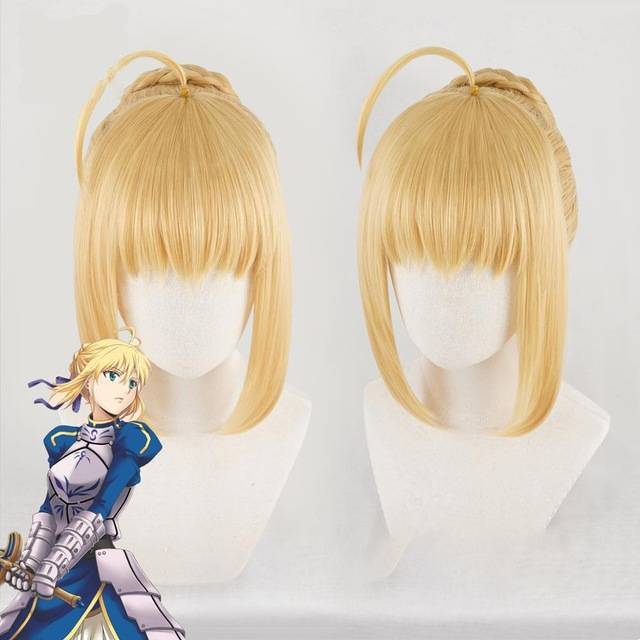 Anihut Altria Pendragon Saber Wig Anime Fate Stay Night Cosplay Wigs Game Grand Order Synthetic Women Hair