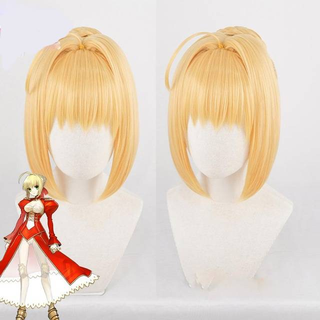 Anihut Fate Extra Nero Wig Grand Order Cosplay Synthetic Blonde Heat Resistant Hair Anime Stay Night