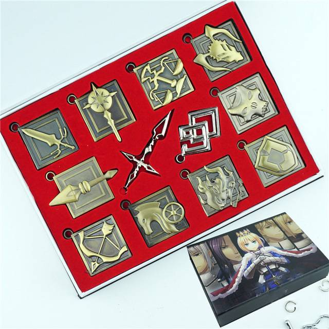 anime fate stay night zero necklace set keychain 12pcs zinc alloy metal pendant jewelry cosplay box for friend gift