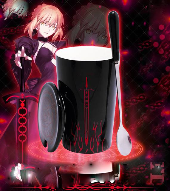 Anime Game Fate Stay Night Saber Alter Water Cup Mug Porcelain Spoon & Lid Cosplay Gifts