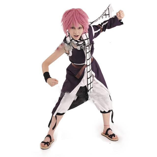 Fairy Tail Natsu Dragneel Purple Cosplay Costume Male Outfit