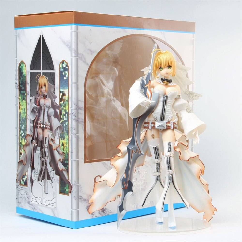 Fate Grand Order Saber Nero Stay Night Anime Figure Bride Girl Toys Doll Action Collectible Juguetes Model 24cm Figma