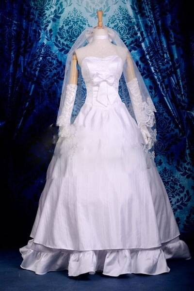 Fate Stay Night Saber Wedding Dress Cosplay Costume Deluxe E001