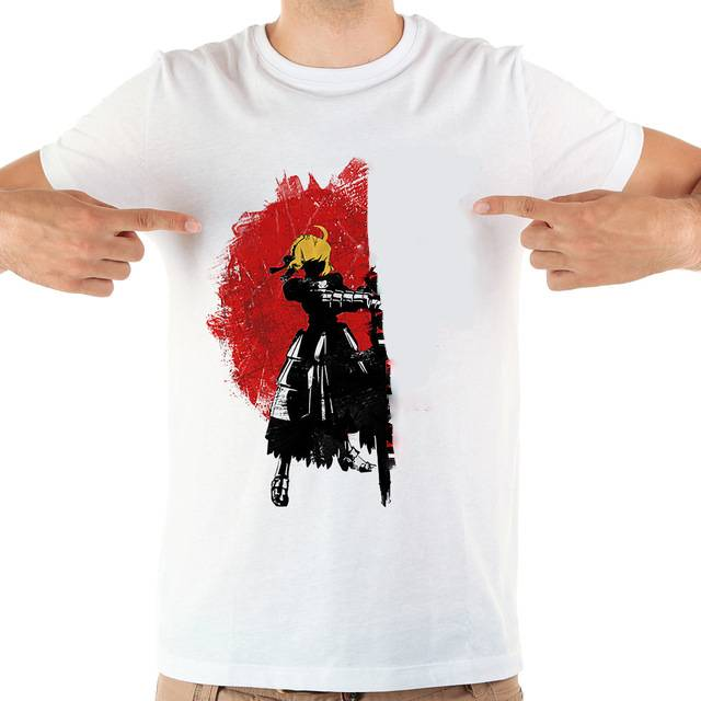 fate stay night the excalibur holder anime tshirt men summer white short sleeve casual homme cool t shirt