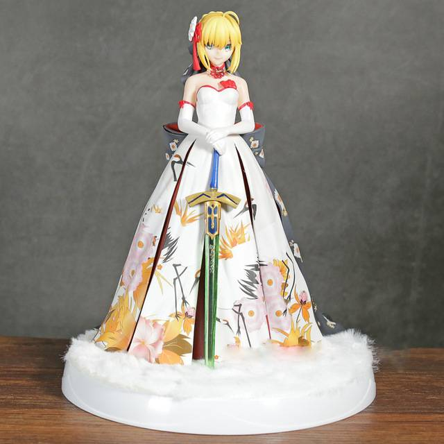 Fate Stay Night Anime Extella Saber Arturia And Altria Kimono Suit Ver With Led Base Statue Figure Model Toys