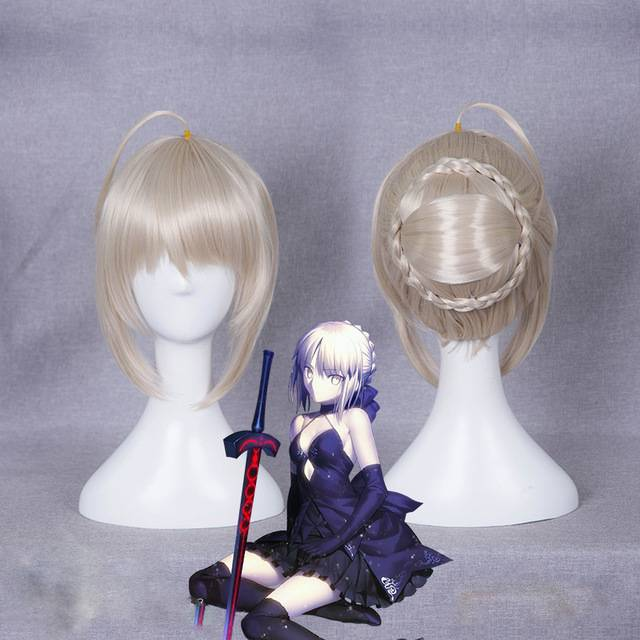 Fate Stay Night Saber Alter Wig 30 Cm Short Straight Heat Resistant Synthetic Hair For Halloween Party Clip In Bun