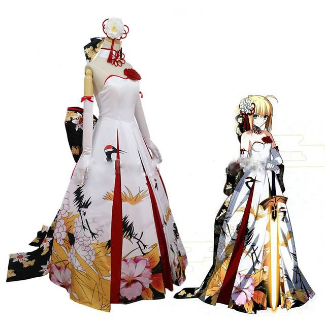 Fate Stay Night Saber Year Wedding Dress Cosplay Costume