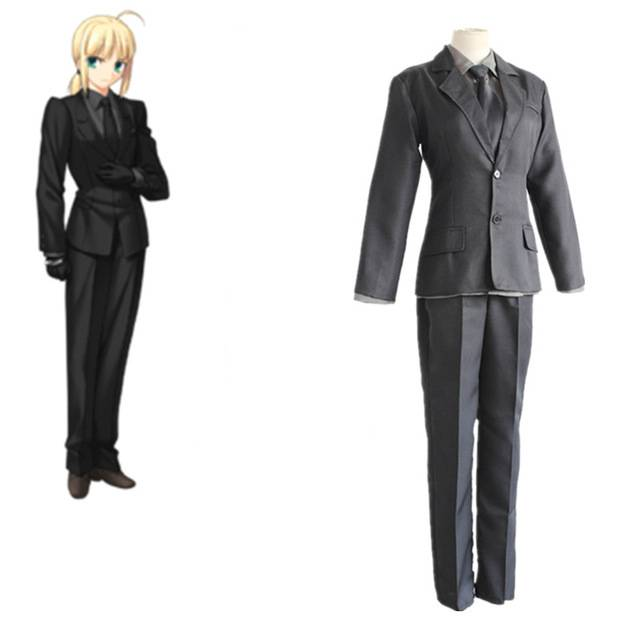 Fate Stay Night Zero Arturia Pendragon Saber Cosplay Costumes Japanese Anime Clothing Black Suit
