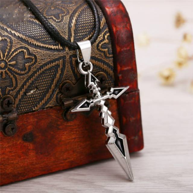 Hsic Anime Fate Stay Night Cross Necklace Pendant Cosplay Collection Shield Silver Plated Rope Chain Men's Accessories