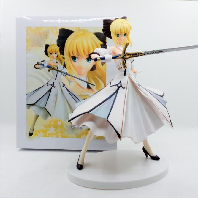 hkxzm anime 18cm fate stay night saber white suit 1 8 scale painted ver lily pvc figure collectible toy model gift