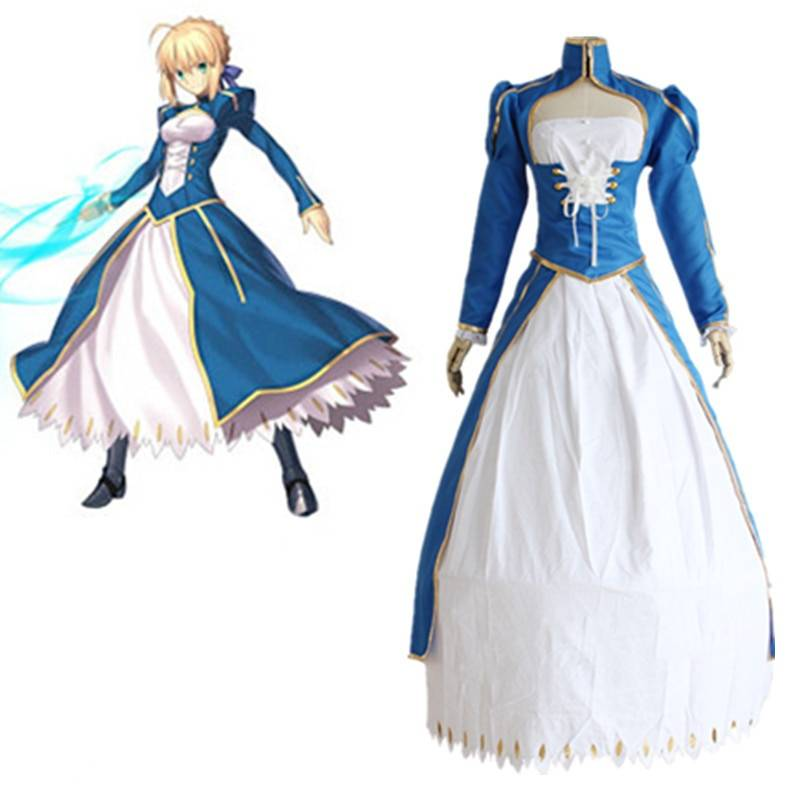 Saber Cosplay Costumes Battle Dress Japanese Anime Game Fate Stay Night Clothing Halloween Spot Supply