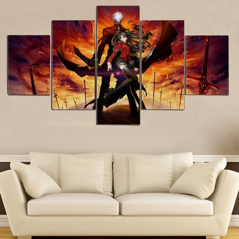 5 Pieces Fate Stay Night Anime Characters Archer Hd Canvas Painting Oil Children Print Poster Picture Bedroom Home Decor