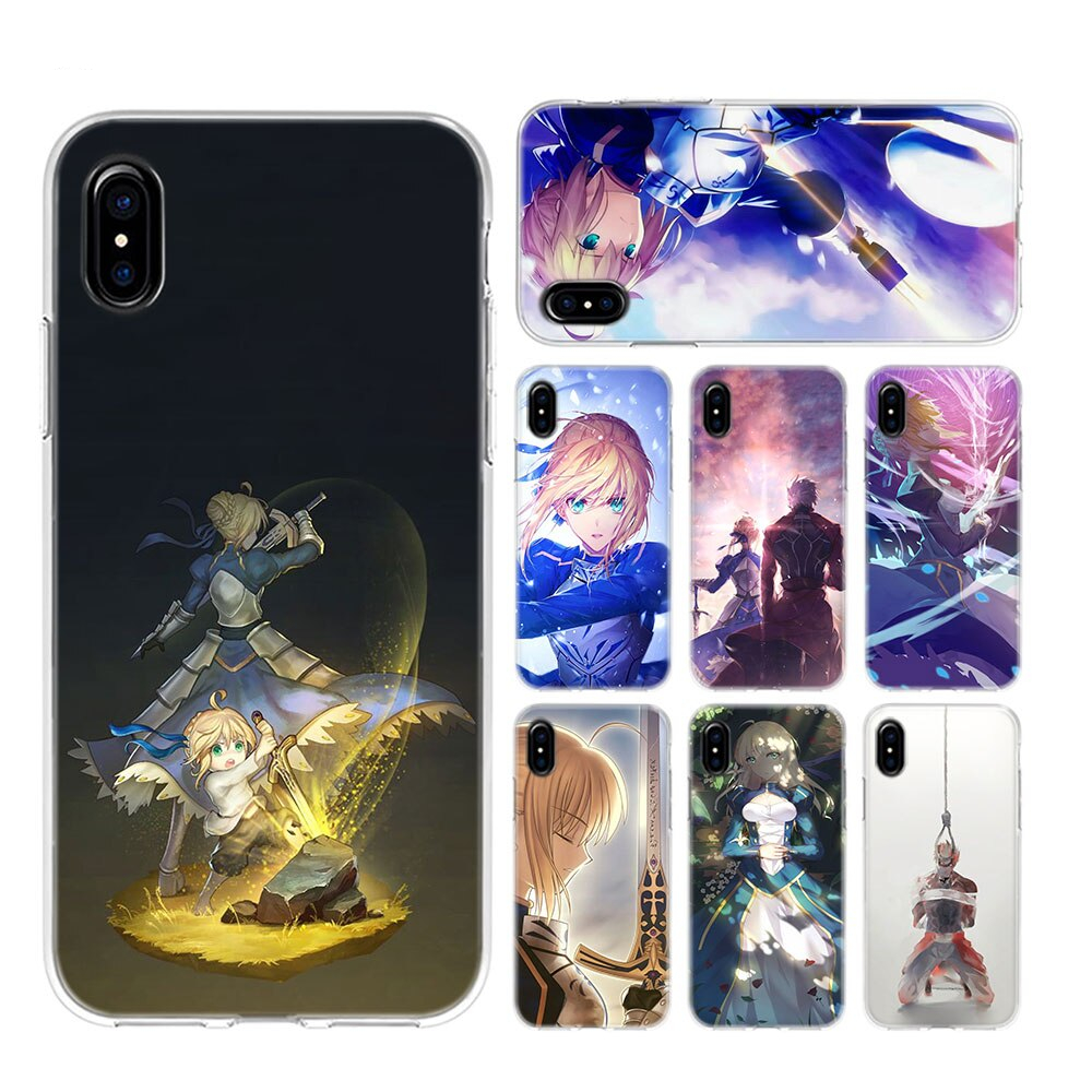 Transparent Soft Silicone Phone Case Anime Fate Stay Night Saber Style For Iphone Xs X Xr Max 8 7 6 6s Plus 5 5s Se
