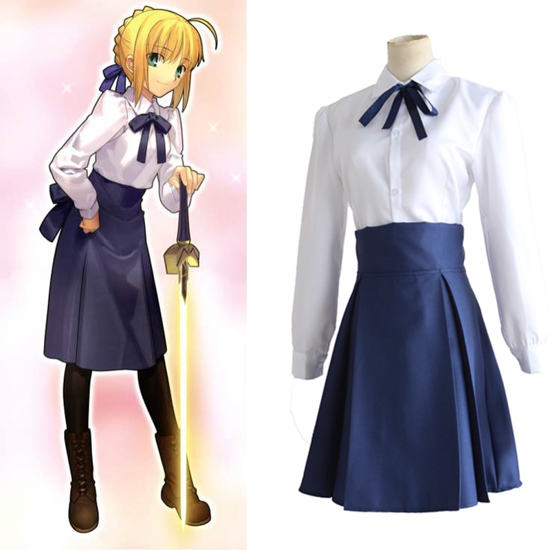Fate Stay Night Saber Arturia Pendragon Cosplay Costume Sailor Suit Casual Daily Clothing