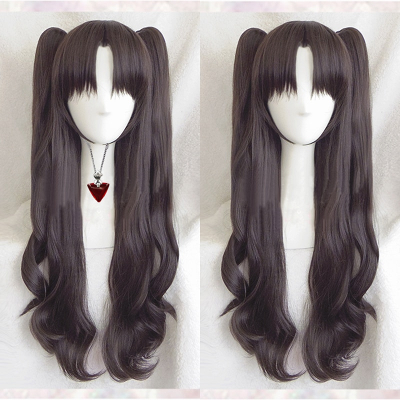 Fate Stay Night Rin Tohsaka Long Wavy Brown Ponytail Heat Resistant Hair Cosplay Costume Wig & Ruby Necklace Optional