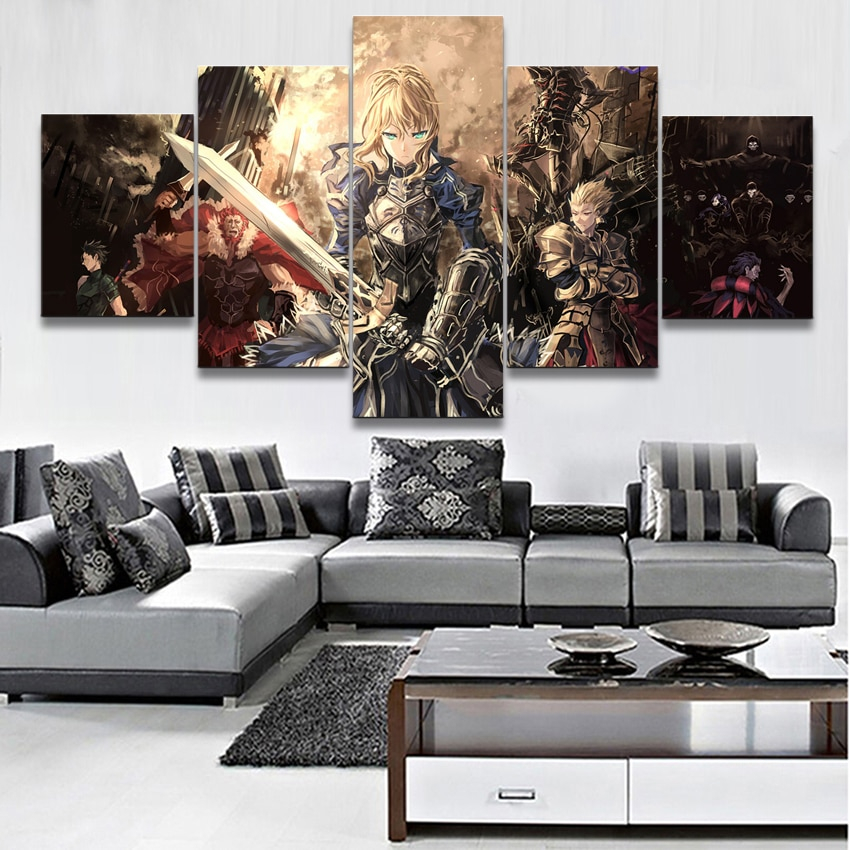 Canvas Modular Poster Home Decor Print 5 Pieces Anime Fate Stay Night Saber Lily Warrior Painting Wall Art Pictures For Bedroom