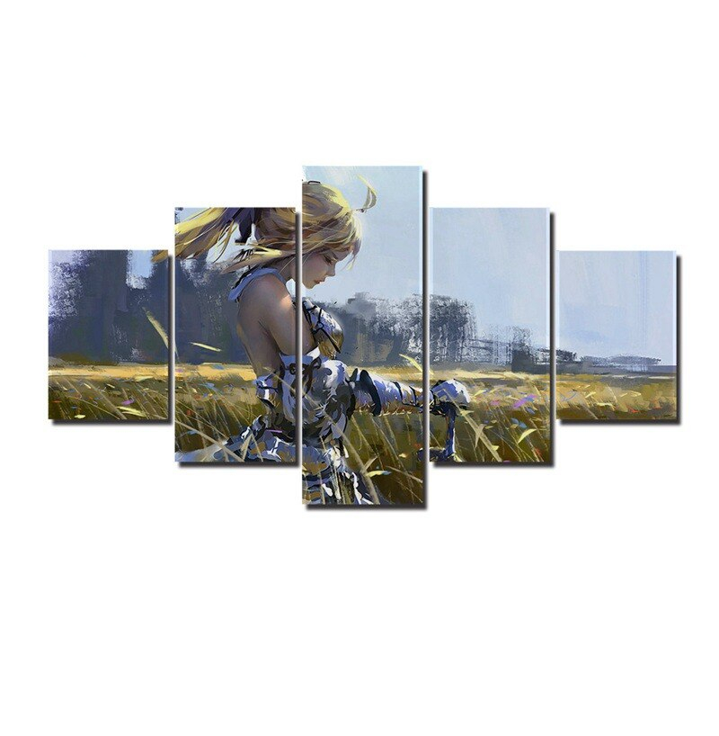 Saber Lily 5 Panel Anime Canvas Art Fate Stay Night Wall Pictures For Living Room A0038
