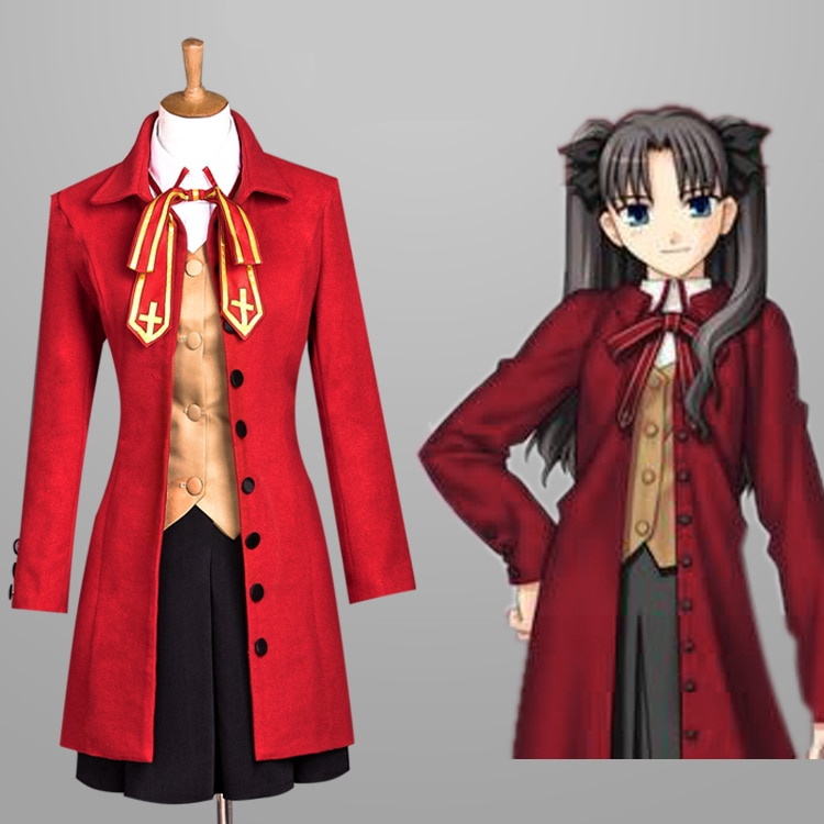 Hot Anime Fate Stay Night Cosplay Costume Tohsaka Rin School Clothes S-xl