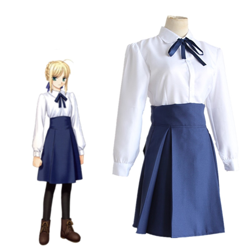Saber Cosplay Costumes Japanese Anime Fate Stay Night Clothing Skirt & Tie Shirt Bow