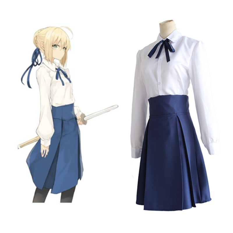 Fate Stay Night Saber Arturia Pendragon Cosplay Costume Sailor Suit Casual Daily Clothing Dress Halloween Party
