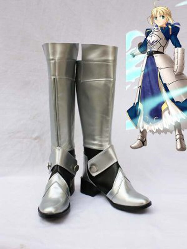 Fate Stay Night Cosplay Saber Silver Long Boots Shoes Anime Party Custom Made Women