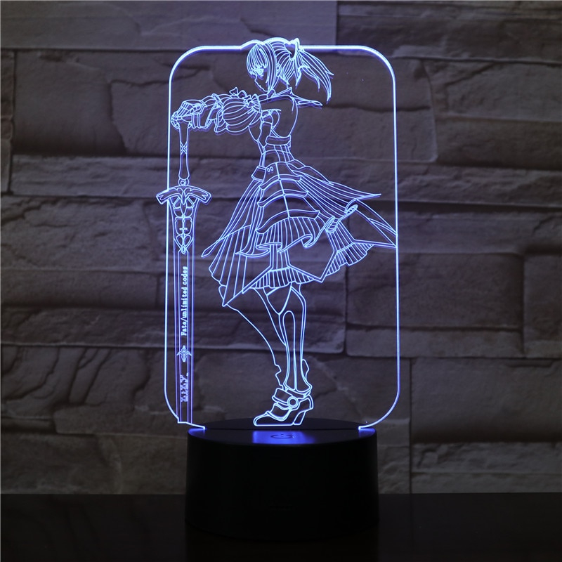 Fate Grand Order Saber Stay Night 3d Led Diy Light Anime Toy Table Lamp Children Gift Color Changing Lighting