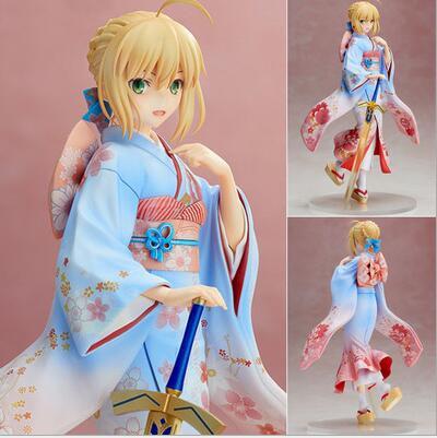 25cm Fate Stay Night Saber Kimono Action Figure Pvc Toys Collection Anime Cartoon Model Collectible