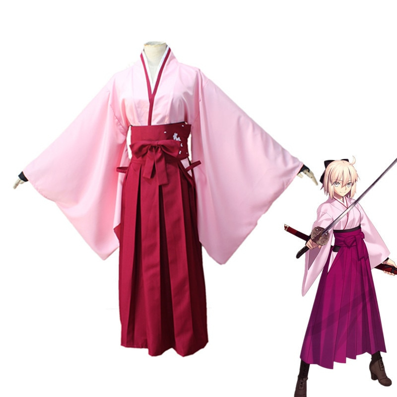 Anime Fate Grand Order Cosplay Costumes Stay Night Sakura Saber Kimono Blonde Synthetic Wigs For Women Girls Party Clothing