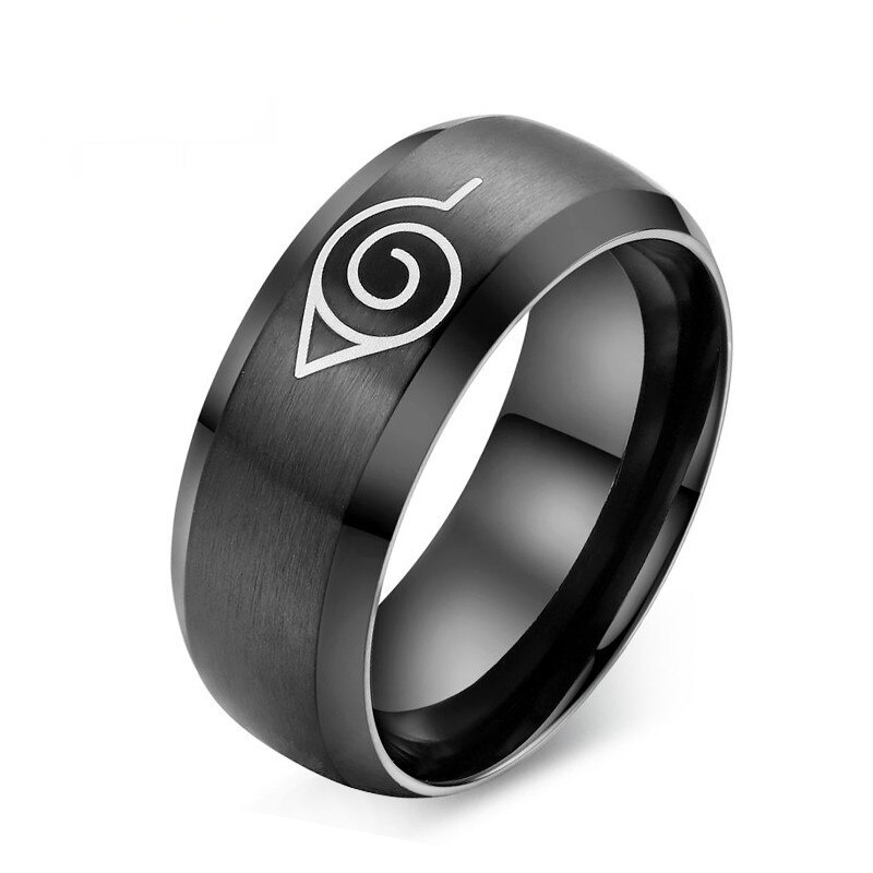 Fashion Naruto Ring Black Gold Color Cool Men Punk Jewelry Stainless Steel Anime
