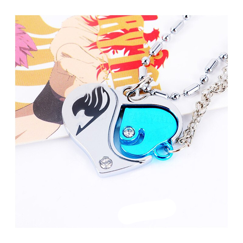 Anime Fairy Tail Sliver And Couple Keychain Metal Necklace Pendant Jewelry Cosplay Halloween Christmas Lover Creative Gift