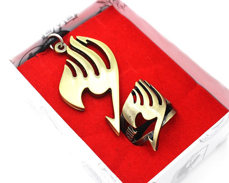 Japan Anime Fairy Tail Ring Necklace Boys Girl Cosplay Metal Pendant Costume Accessory In Box