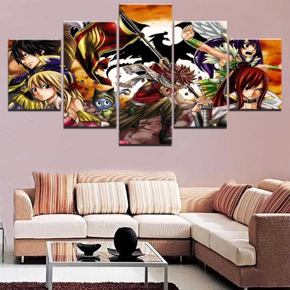 Canvas Print Painting 5 Panel Anime Fairy Tail Character Home Decor Modular Pictures For Modern Living Room Poster