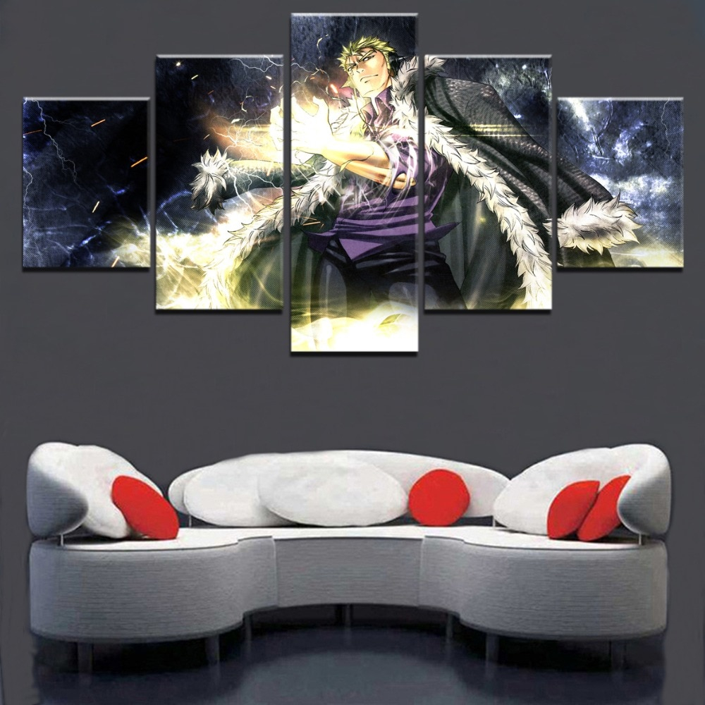 5 Panels Modular Picture Home Decorative Living Room Canvas Paintings Wall Art Decor Anime Fairy Tail Laxus Dreyar Poster