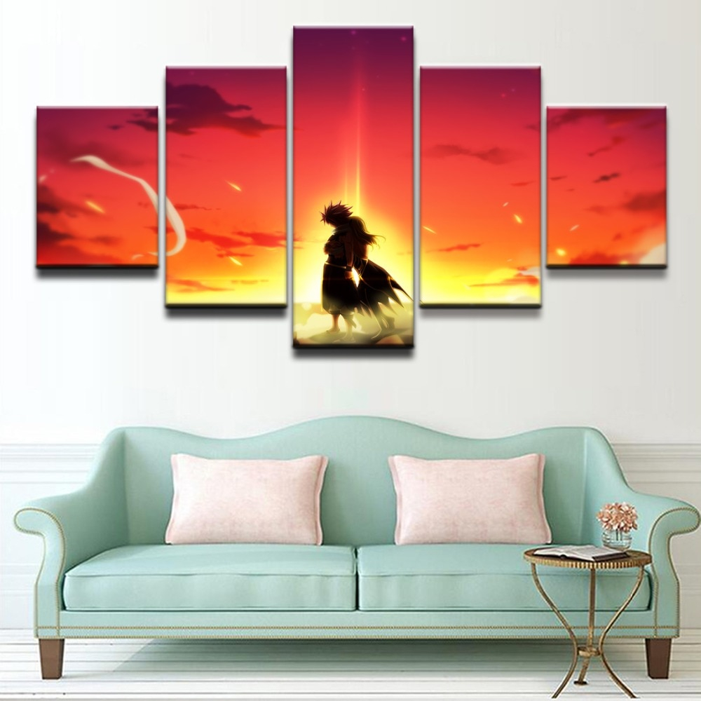 5 Pieces Anime Fairy Tail Lucy Heartfilia Natsu Dragneel Poster Modern Home Wall Decor Canvas Picture Art Hd Print Painting