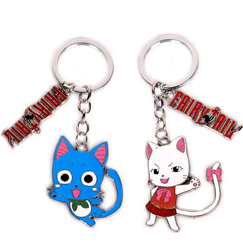 Fairy Tail Keychain Japan Anime Keyring Alloy Metal Pendants Cartoon Key Ring Toy Cosplay Accessories Collection Gift Chains