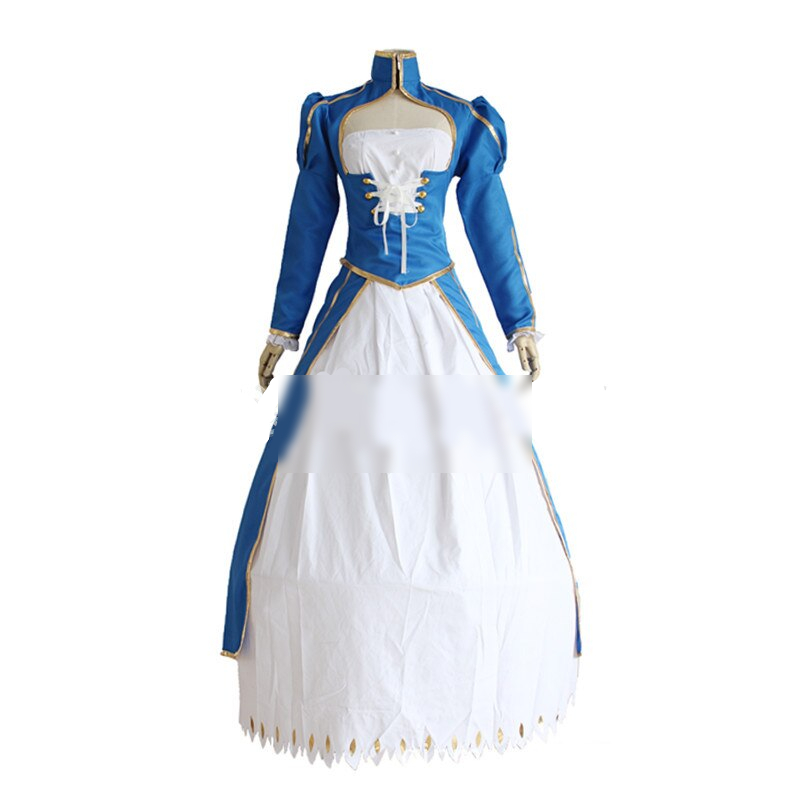 Fate Stay Night Anime Zero Saber Cosplay Arturia Pendragon White Fighting Suit Dress Costume Halloween Costumes