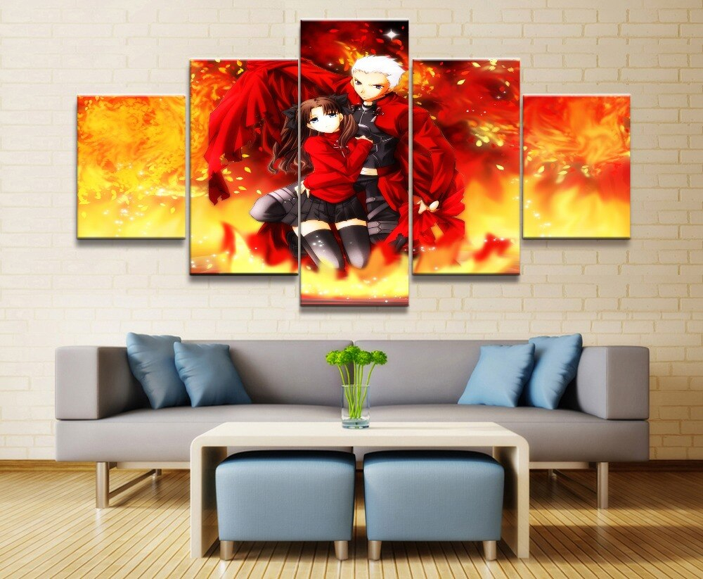 Fate Stay Night Anime Canvas Wall Art Living Room Artwork Modern Decor Painting Home 5 Piece Hd Print