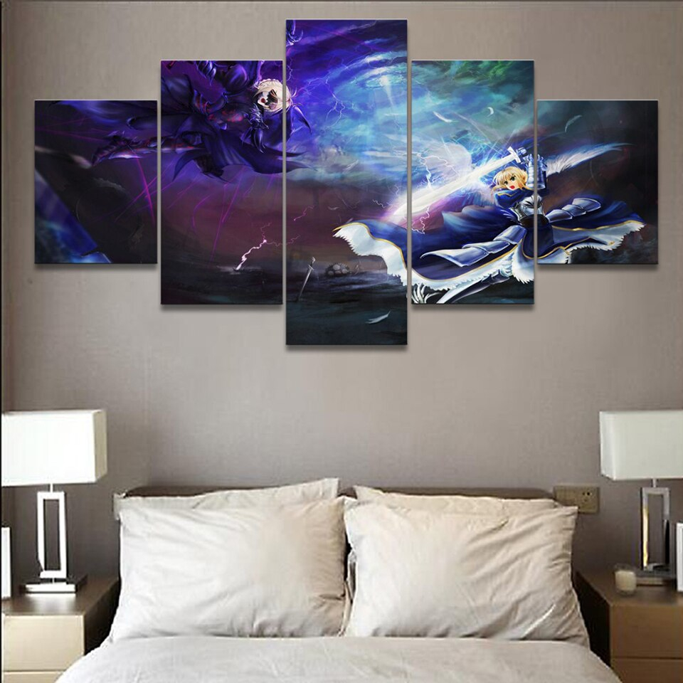 Home Decor Wall Art Canvas Paintings 5 Pieces Fate Stay Night Anime Pictures Hd Prints Modern Poster For Bedroom Modular Framed