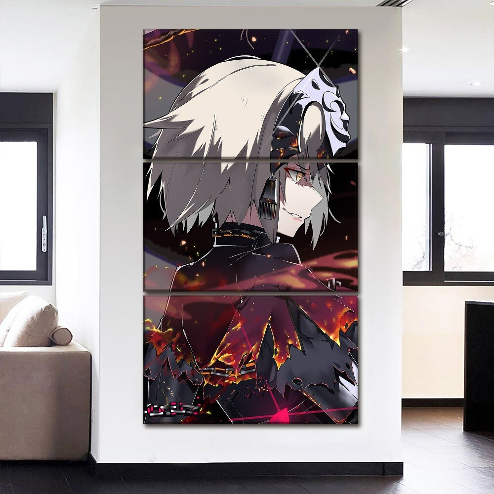3 Pieces Modern Hd Print Painting Artwork Fate Stay Night Anime Canvas Wall Art Picture Home Decoration Living Room