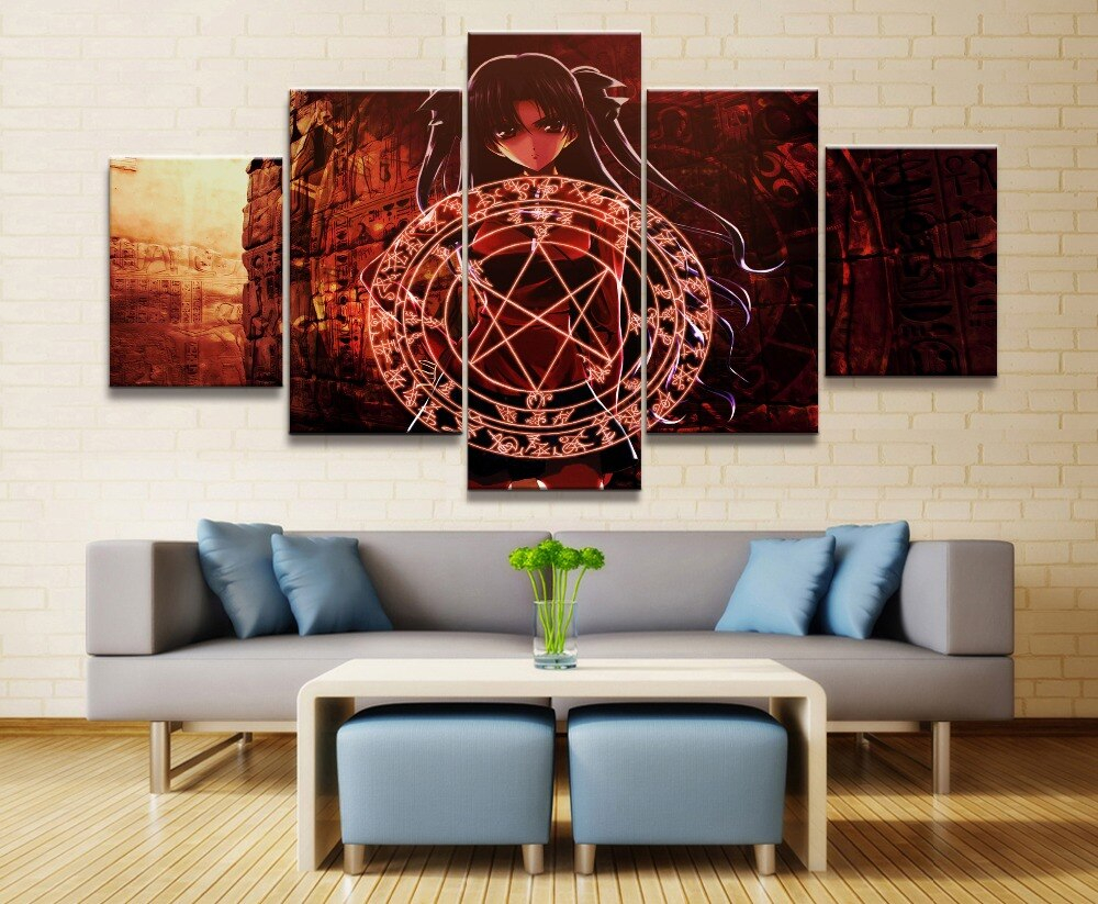 Fate Stay Night Anime Canvas Wall Art Home Picture 5 Pieces Paintings Modern Decor Living Room