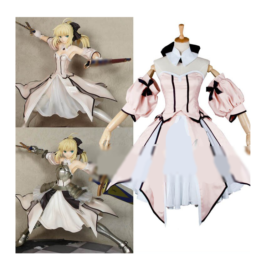 Custom Saber Lily Cosplay Costum Pink From Fate Stay Night Anime Clothing Christmas