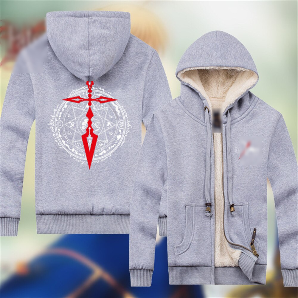 Fate Stay Night Anime Peripheral Men's Cotton Jacket Winter Casual Lamb Cashmere Warm Hooded Zipper