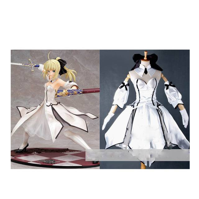 Custom Saber Lily Cosplay Costum White From Fate Stay Night Anime Clothing Christmas