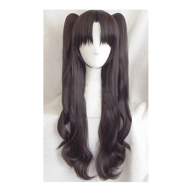 Tohsaka Rin Cosplay Wig Fate Grand Order Stay Night Hair Wavy Synthetic Anime & Cap 24 Inch